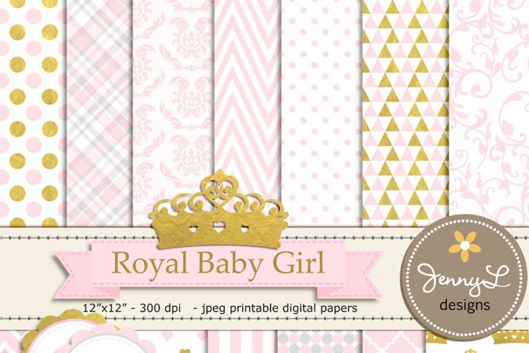 Gold Crown Digital papers and Crown Clipart, Royal Princess Girl Baby Shower, Birthday Blue Birth Announcement, Scrapbooking Paper Party Theme example image 1