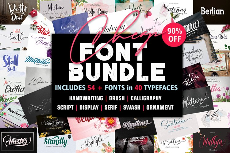 Font Bundle includes 54 fonts in 40 Typefaces example image 1