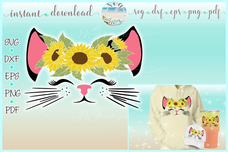 Kitty Cat Face with Sunflowers SVG Dxf Eps Png PDF Files example image 1