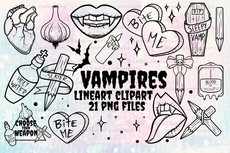 Vampire Clipart LINEART - 21 goth PNG files
