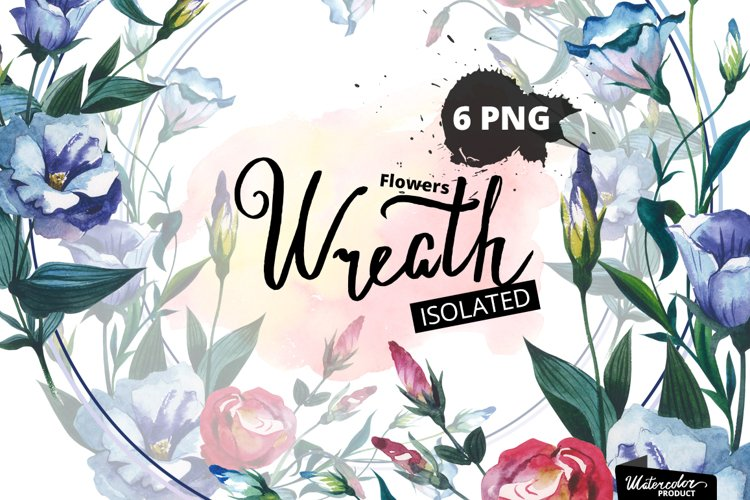 Watercolor Flower Wreath PNG set example image 1