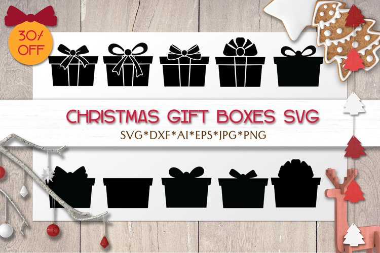 Christmas SVG Gift Boxes | Silhouettes | Laser | Cricut example image 1
