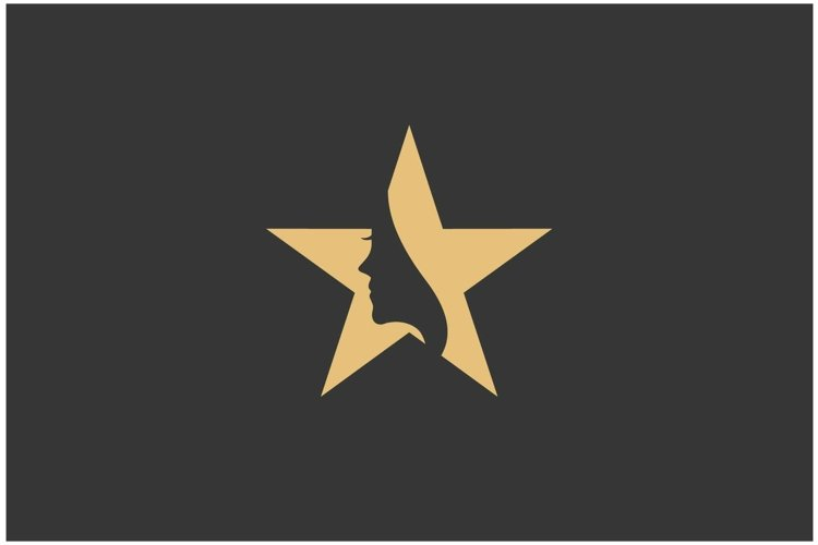 Beauty women with star gold logo design inspiration