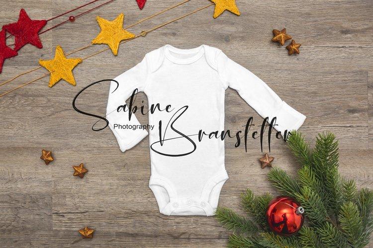 Styled Stock Photo White Preemie Bodysuit Christmas Mockup example image 1