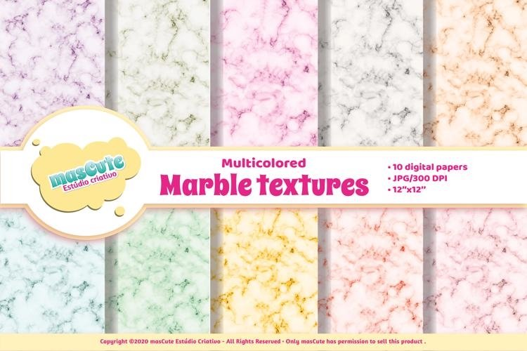 Digital Paper Pack - multicolored Marble textures example image 1