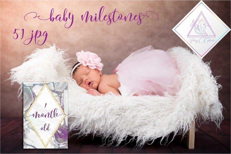 Baby Milestone Cards, 51 JPG files example image 1