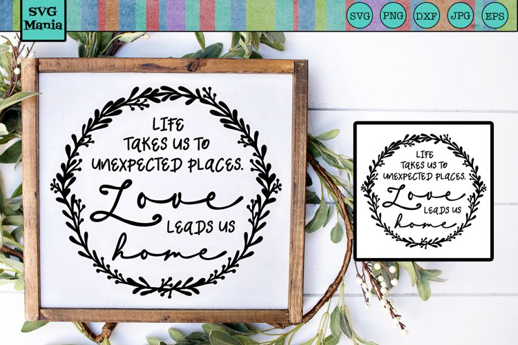 Round Home Saying SVG, Farmhouse Sign SVG Quote, Wall SVG example image 1