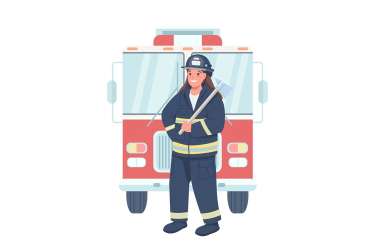 Woman Firefighter Flat Color Vector Detailed Character example
