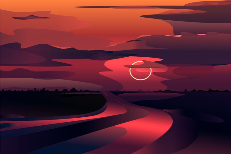 Beautiful vector landscape, sunset or dawn example image 1