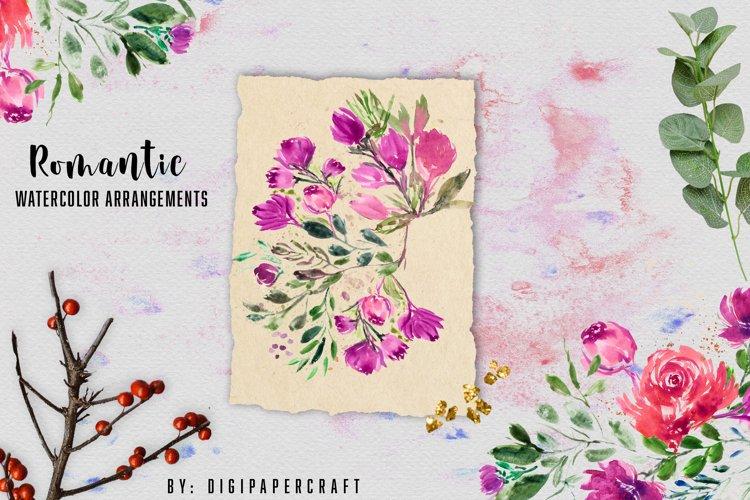 Watercolor floral clipart collection, Floral bouquet, cards