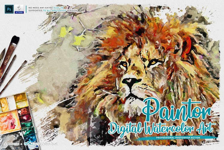 Paintor - Digital Watercolor Art | Photoshop Action example image 1