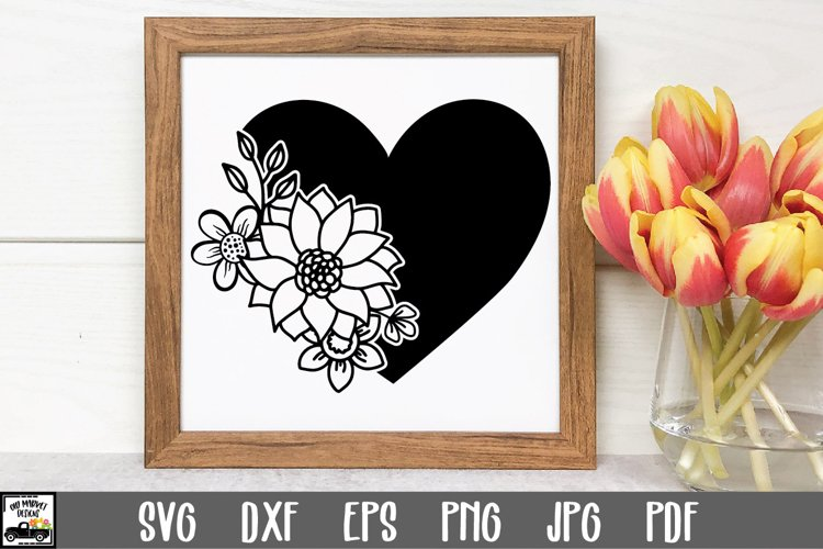 Heart SVG File - Flowers SVG File - Heart with Flowers SVG