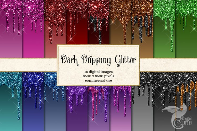 Dark Dripping Glitter Digital Paper
