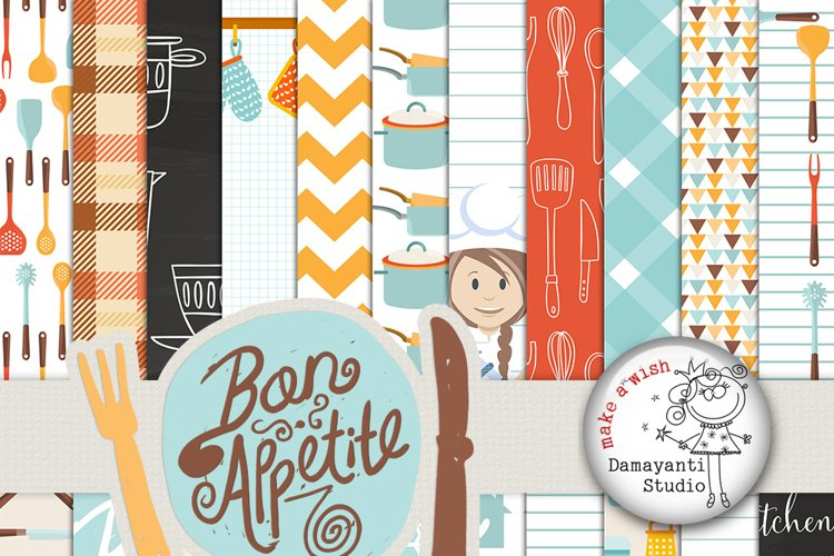 Bon appetite, Food papers, Kitchen papers, retro kitchen digital paper, scrapbook paper, scrapbooking, Bakery Paper, Cooking Paper