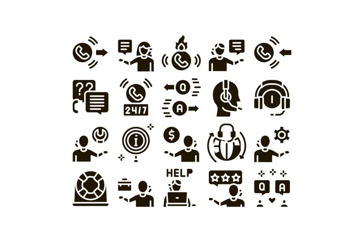 Telemarketing Sale Glyph Set Vector example image 1