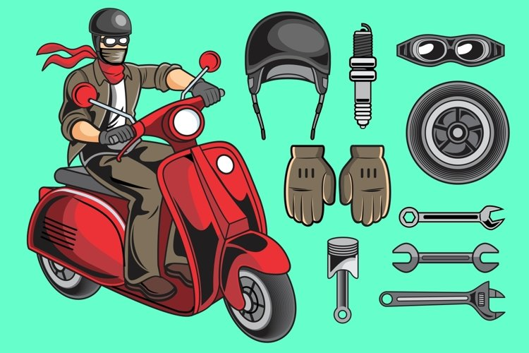 Scooter Rider Vector Pack example image 1