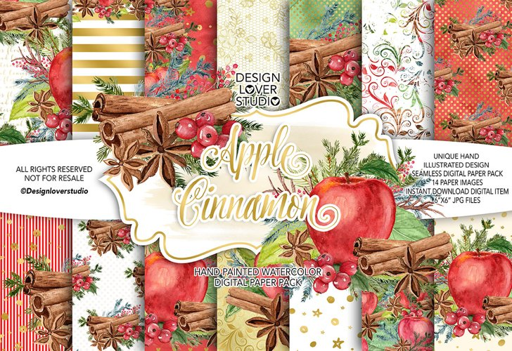 Watercolor Apple Cinnamon digital paper pack example image 1