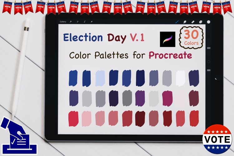 Color Palettes set for Procreate - US election V1 example image 1