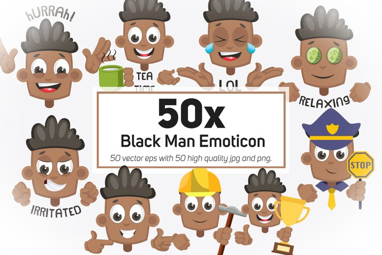 50x Black Man Emoticon or Sticker character collection