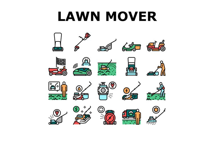 Lawn Mower Equipment Collection Icons Set Vector example image 1