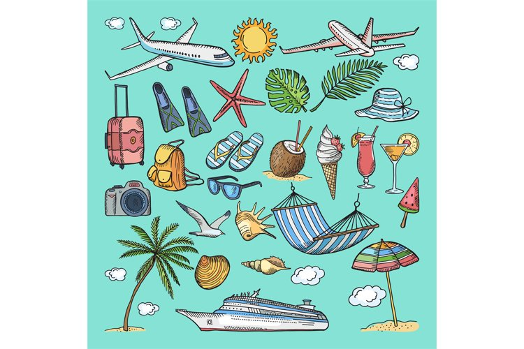 Different hand drawn coloring summer icons set. Tropical ill example image 1