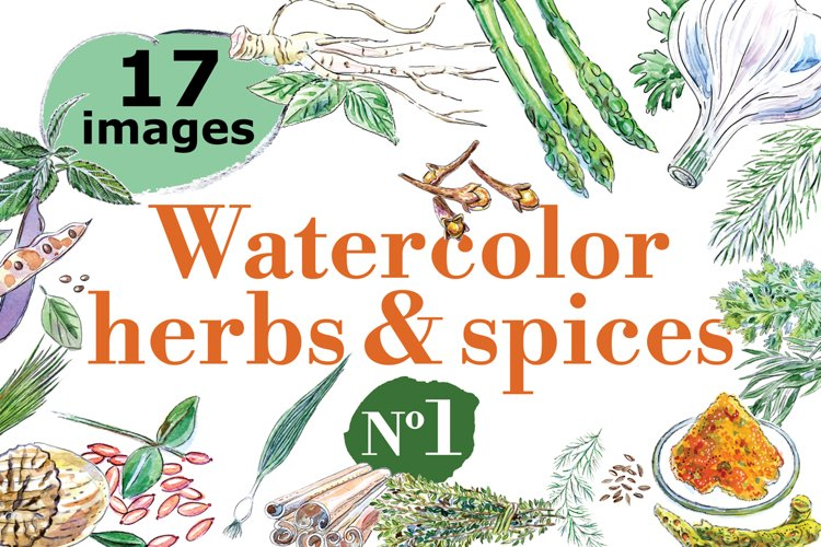 Watercolor spices vector set-1 example image 1