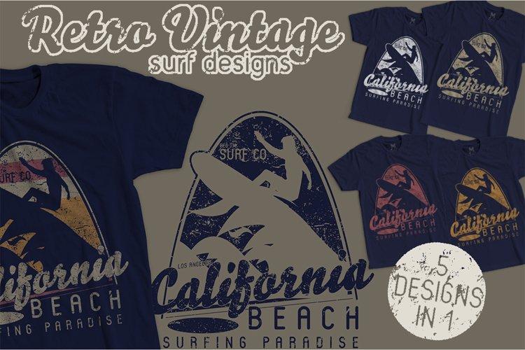 Retro Vintage Surf Designs 5 Color Variations