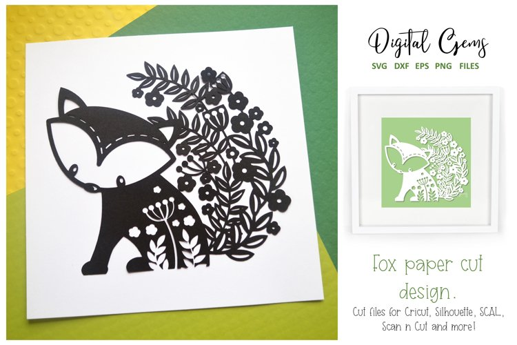 Fox paper cut design SVG / DXF / EPS / PNG files example image 1