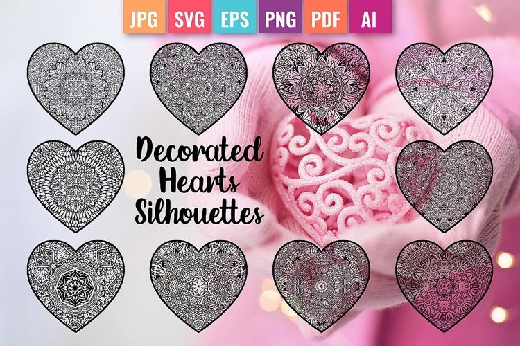 Decorated Hearts Silhouettes, Valentines svg, Mandala example image 1