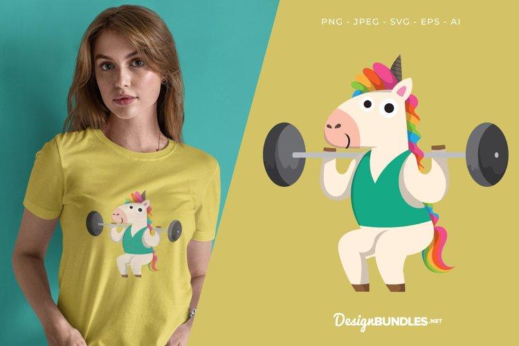 Weightlifting Unicorn Vector Illustration For T-Shirt Design