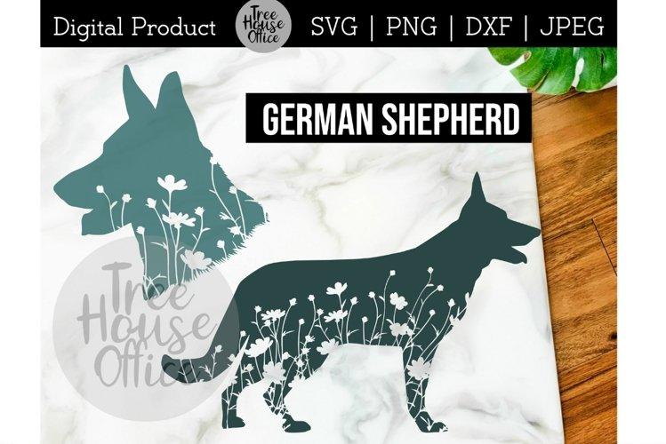 German Shepherd Dog Floral SVG, Cute Shepherd Flowers SVG example image 1