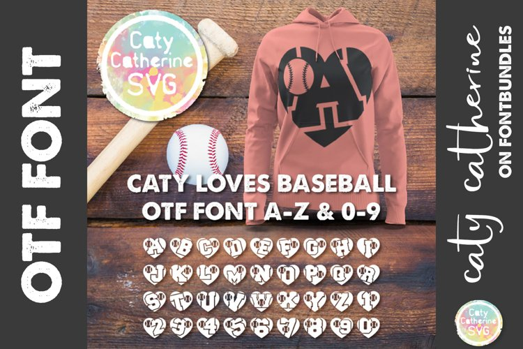 Baseball Love Heart Initial Font A-Z & 0-9 OTF Font File example image 1