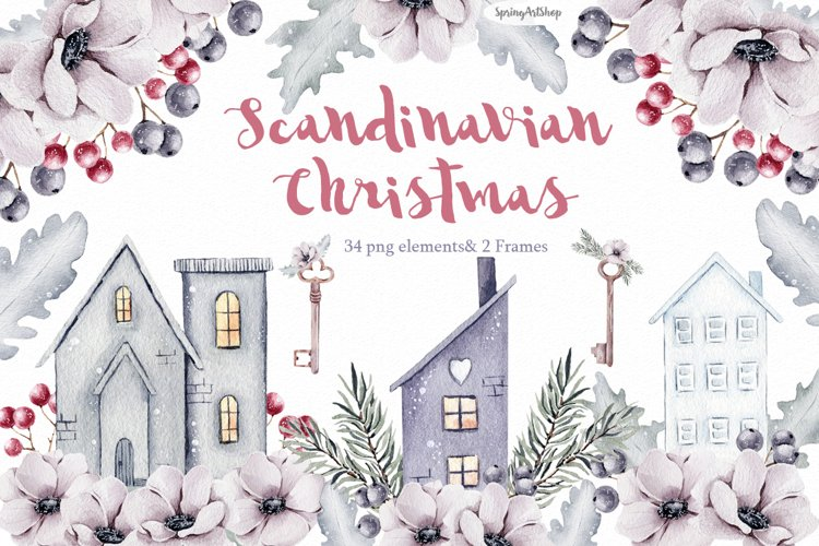 Grey Beige Brown illustration. Hand-painted holiday clipart Merry Christmas decoration clip art Scandi watercolor winter essentials