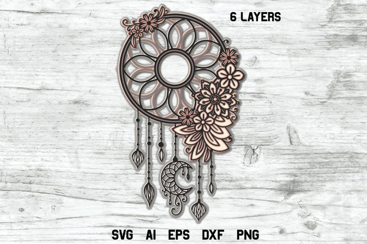 Dream Catcher SVG 3d Layered | Multi Layer Boho SVG Cut File example image 1