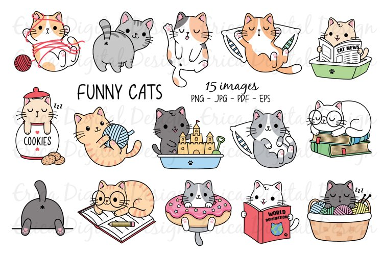 Funny Cats Clipart set - 15 cute images example image 1
