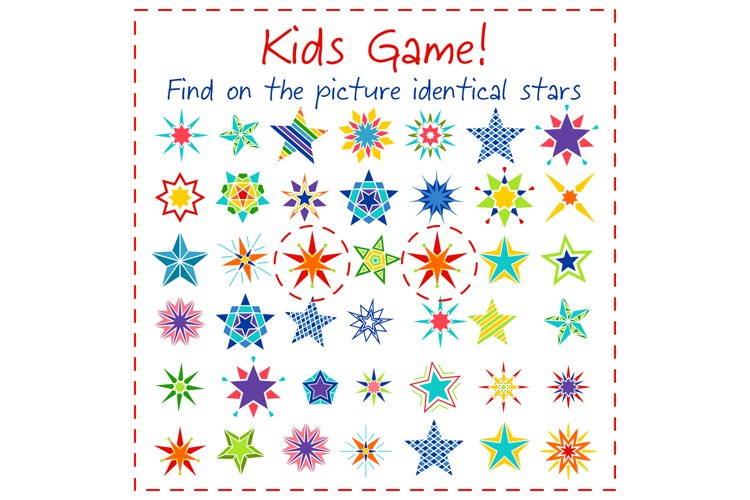 Kids game with colorful cartoon stars example image 1