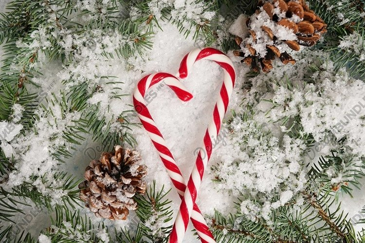 winter card with candy canes on white snow background example image 1
