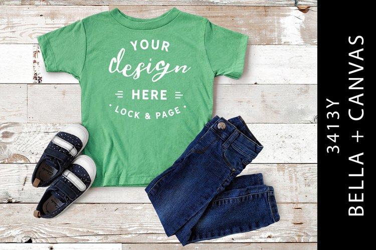 Kid's Green Triblend Bella Canvas 3413Y T-Shirt Mockup example image 1
