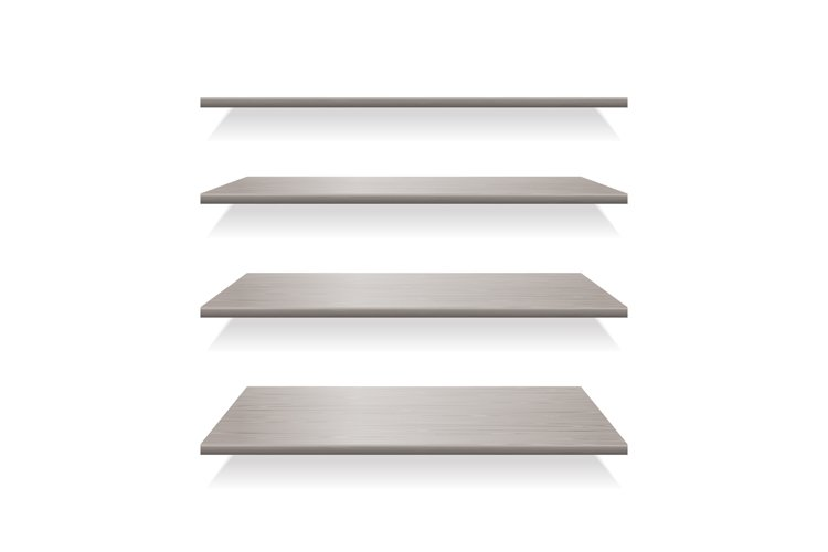 Gray wood shelves with shadows example image 1