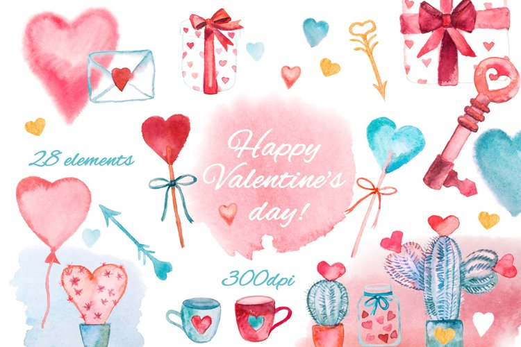 Watercolor Valentine's Day clipart example image 1