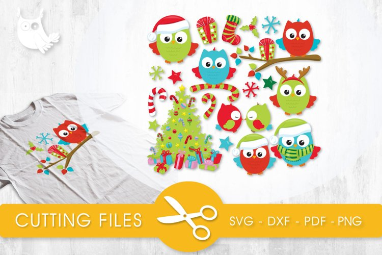 Christmas Tree Owls cutting files svg, dxf, pdf, eps included - cut files for cricut and silhouette - Cutting Files SVG example image 1