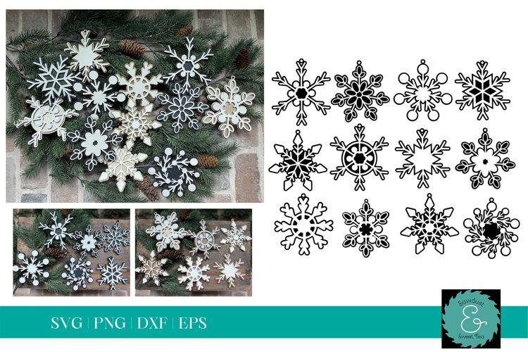 Layered Snowflake SVG, Glowforge SVG, Christmas Ornament SVG example image 1