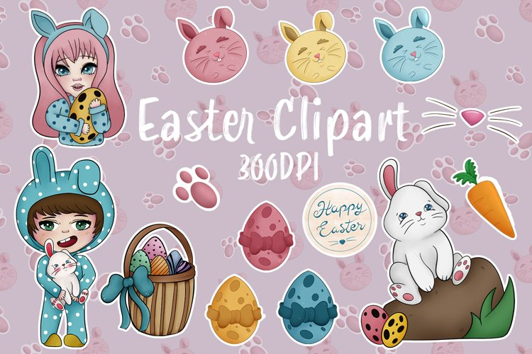 Happy Easter Chibi Kawaii Clipart and Digital Paper