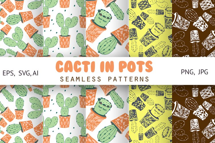Cacti with funny kawaii faces. Seamless patterns example image 1