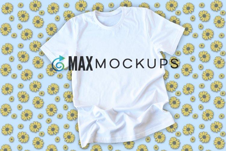 White Shirt Mockup, Sunflowers Backdrop, Blue Styled Flatlay