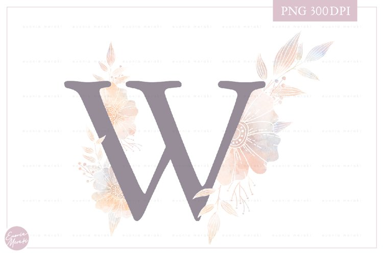 MONOGRAM Letter WElegant Floral Monogram - Flower initials example image 1