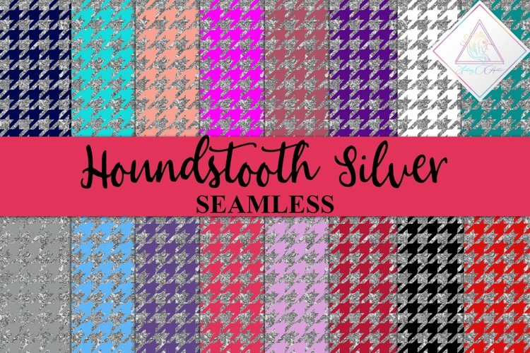 Silver Glitter Houndstooth Digital Paper example image 1