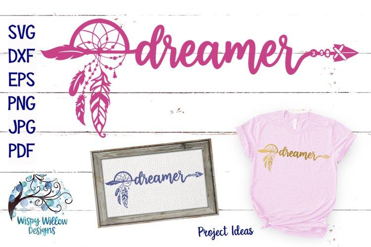 Dreamer SVG | Boho Feather Dream Catcher SVG Cut File example image 1