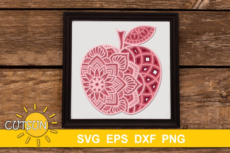 3D Layered Mandala Apple SVG cut files for crafters 5 layers