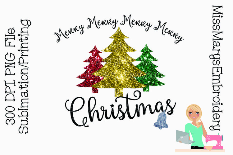 Merry Christmas Sublimation Design | Christmas Sublimation example image 1